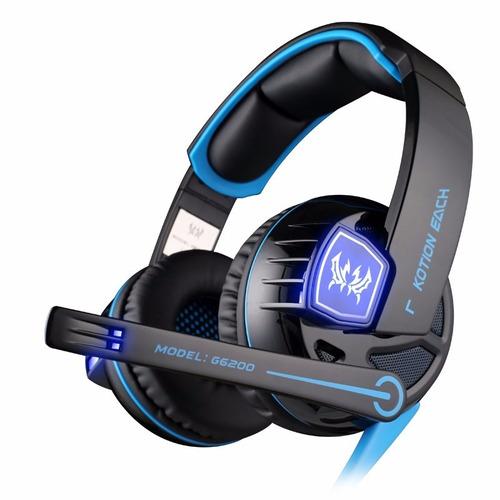 kotion each g6000 auriculares gamer led c/sonido envolvente