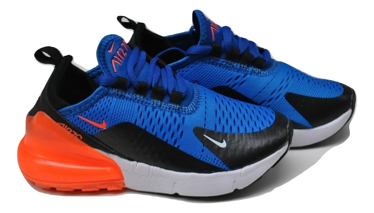 análisis Se convierte en bandeja  Kp3 Zapatos Nike Air Max 270 Azul / Naranja Para Niños Niñas - Bs ...