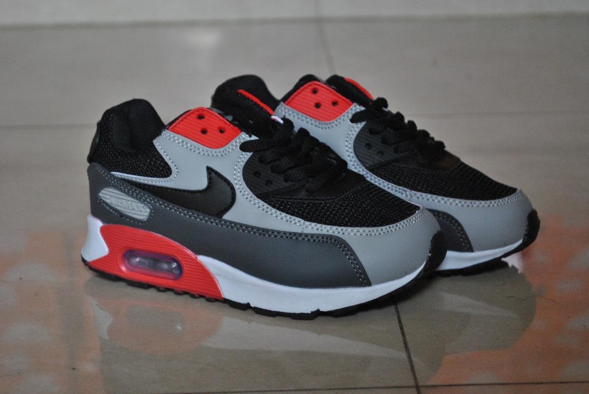 Kp3 Zapatos Nike Air Max 90 Gris Rojo Para Niños