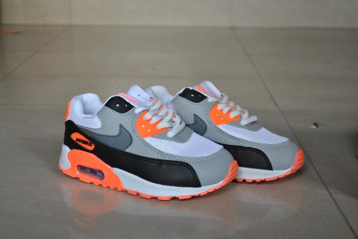 Kp3 Zapatos Nike Air Max 90 Naranja Para Niños Y Niñas