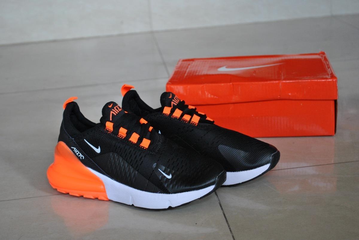 Kp3 Zapatos Niños Niñas Nike Air Max 270 Negro Naranja