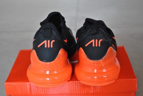 kp3 zapatos niños niñas nike air max 270 negro / naranja