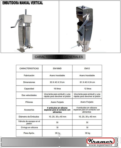 kramer embutidora manual vertical 12 litros acero chorizos