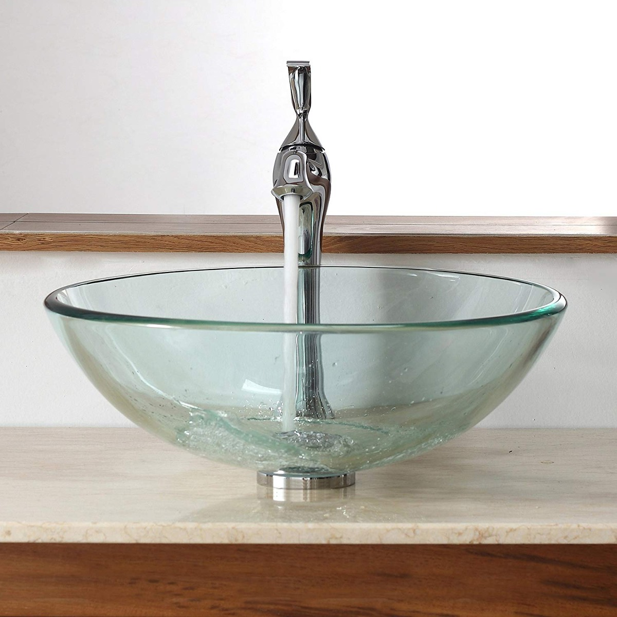Kraus C-gv-101-12mm-15000ch Clear Glass Vessel Sink And Vent