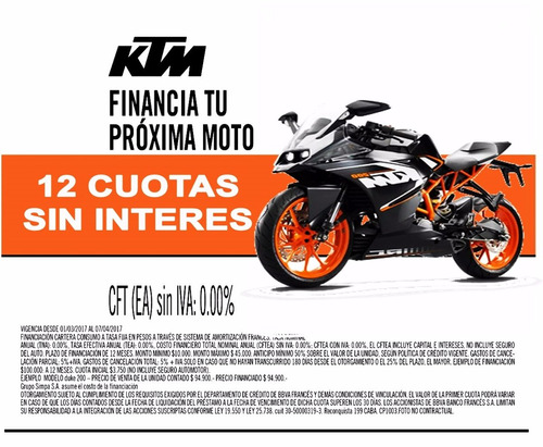 ktm rc 200 0km 2017 automoto lanús financiación tasa 0% !!!