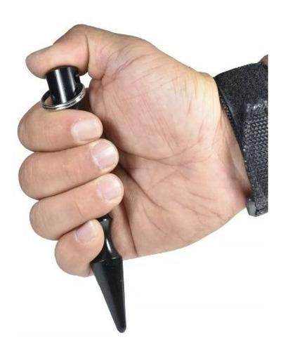 kubotan auto defesa bastão chaveiro cor preto com ponta