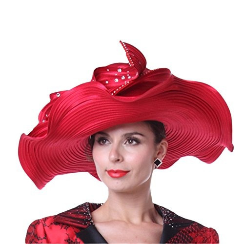 Kueeni Women Hats Hot Red Color Church Sombreros Lady Party ... 11277418ccd
