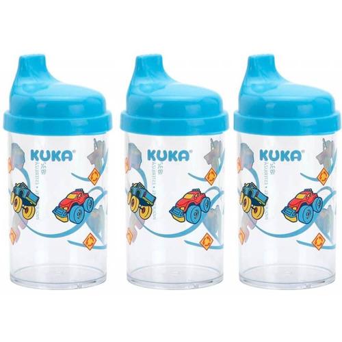 kuka 6046 copo infantil cristal decorado azul (kit c/03)