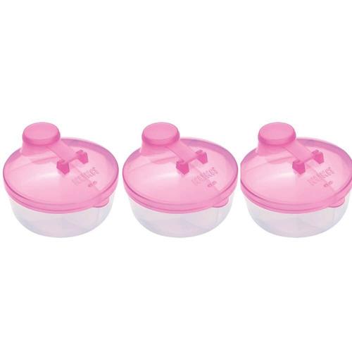kuka 6112 pote dosador p/ leite pó rosa (kit c/03)