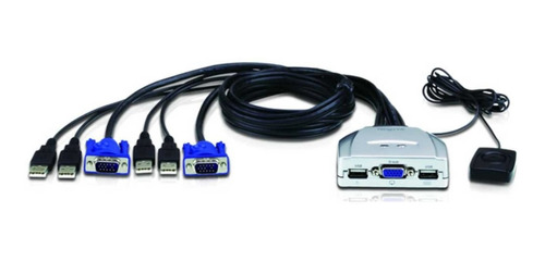 kvm switch 2 puertos usb con cables teclado + mouse