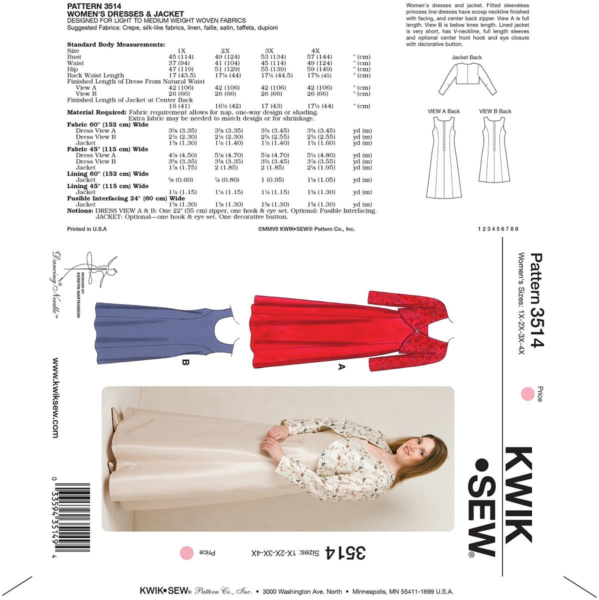 Kwik Sew K3514 Vestidos Y Chaqueta Patrón De Costura Tama ...
