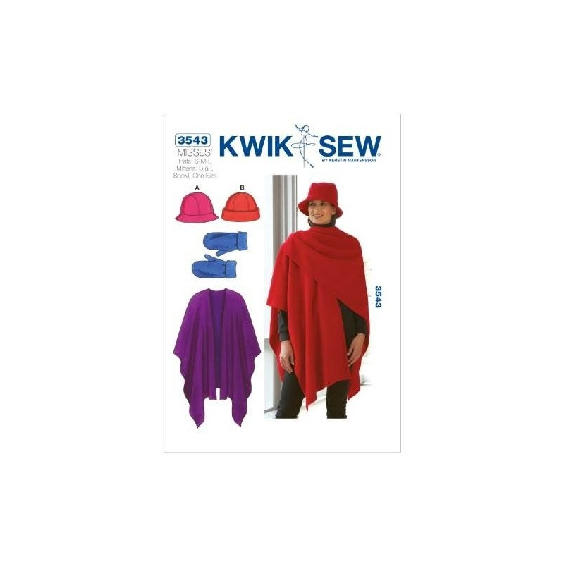 Kwik Sew K3543 Hats Patrón De Costura, Mitones Y Chal - $ 85.376 en ...