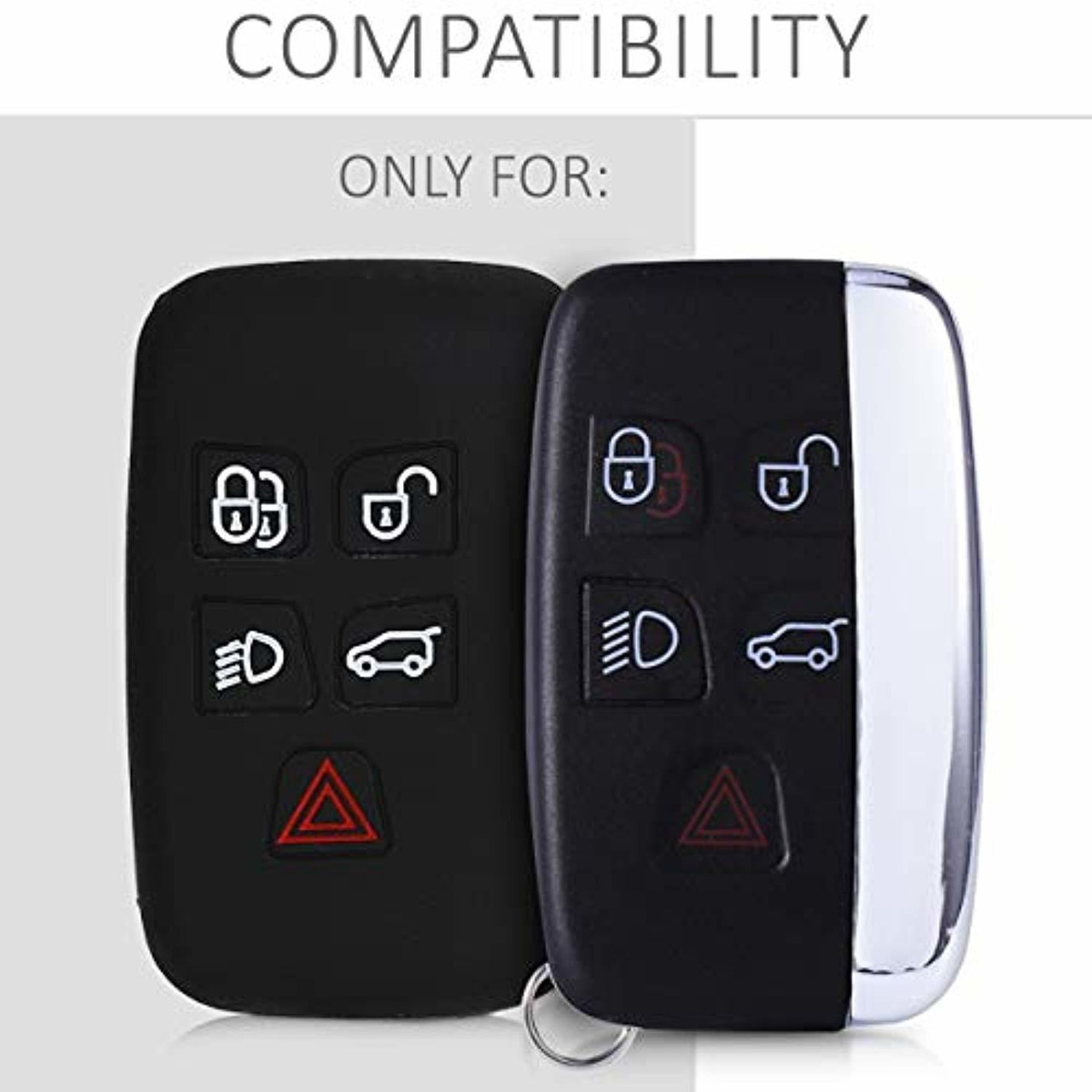 kwmobile Key Cover Compatible with Land Rover Jaguar Carbon
