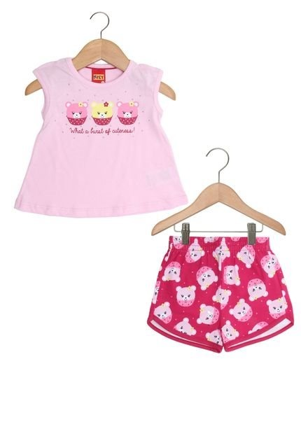 fd4ece317f Kyly - Conjunto Curto Infantil Menina - Ursinho Cupcake - R  29