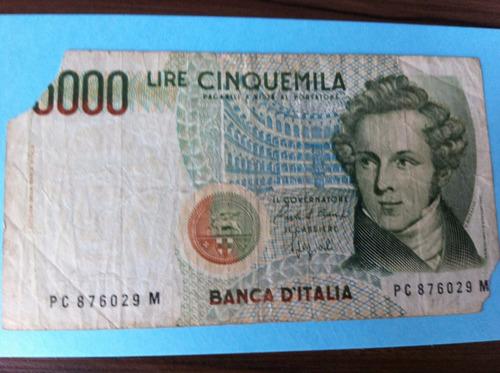 l-1241- bela cédula original - itália - 5.000 liras - 1985