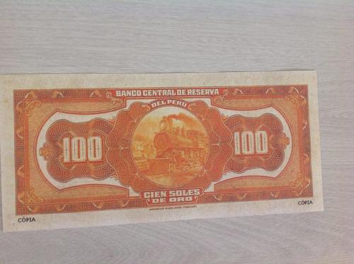 l-1334 - rara cédula perú 100 soles de oro 1933 não original