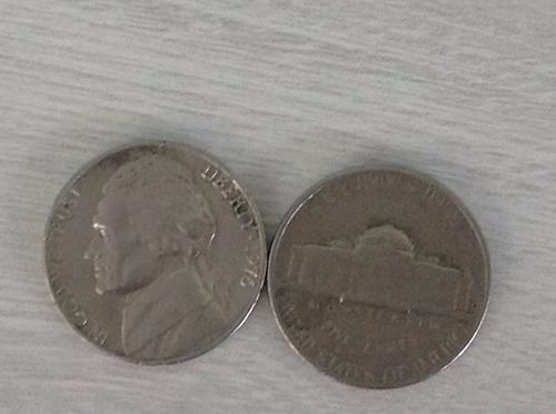 l-1423 - 2 belíssimas moedas originais usa - u$ five cents