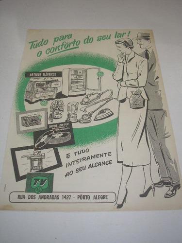 l - 290/ gffra90 propaganda antiga loja tv s.a porto alegre