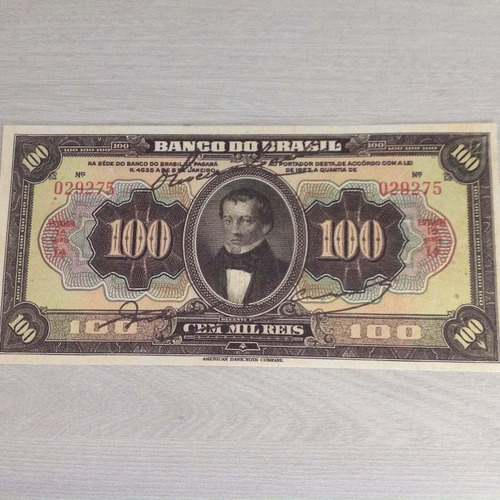 l-876 - r-199 1 belíssima cédula 100 mil  réis 1923  réplica