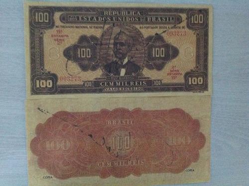 l-934 r-140 - raríssima cédula 100 mil réis - 1924  réplica