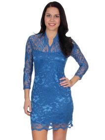 Vestidos Cortos Blue Colash De Noche Mujer Mini Medio Corto