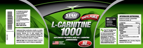 l- carnitine 1000 star nutrition quemador de grasa natural