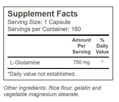 l-glutamine glutamina 180 capsulas aro americano