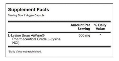 l lysine 500 mg 90 cáp veganas swanson + brinde