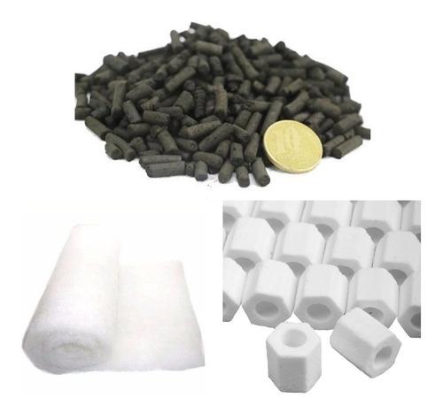 lã perlon 100x100 + 1 kg carvão ativado+1 kg ceramica porosa