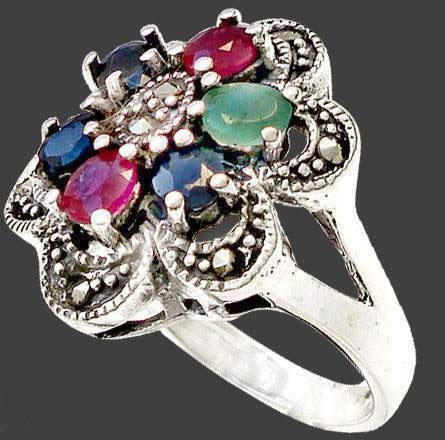 l197-17,5mm maravill anillo plata925 zafiro esmeral rubí mar