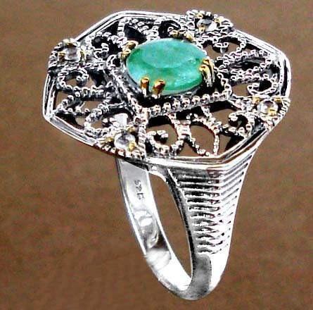 l322-16,5mm- maravilloso anillo plata925 oro filig esmeralda