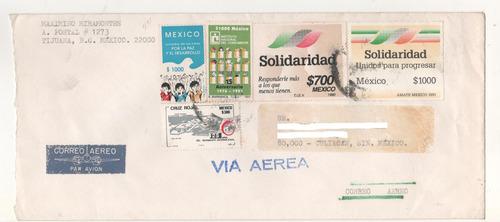 l580-carta circulada timbres conmemorativos cruz roja+ 1991