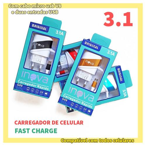 l80 dual - carregador de parede turbo 3a v8 para celular lg