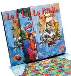la biblia infantil con tablero de juego