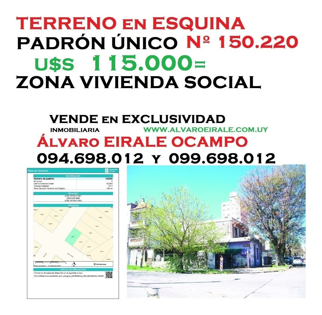 la blanqueada:168 m2 esquina  zona viv. promovida