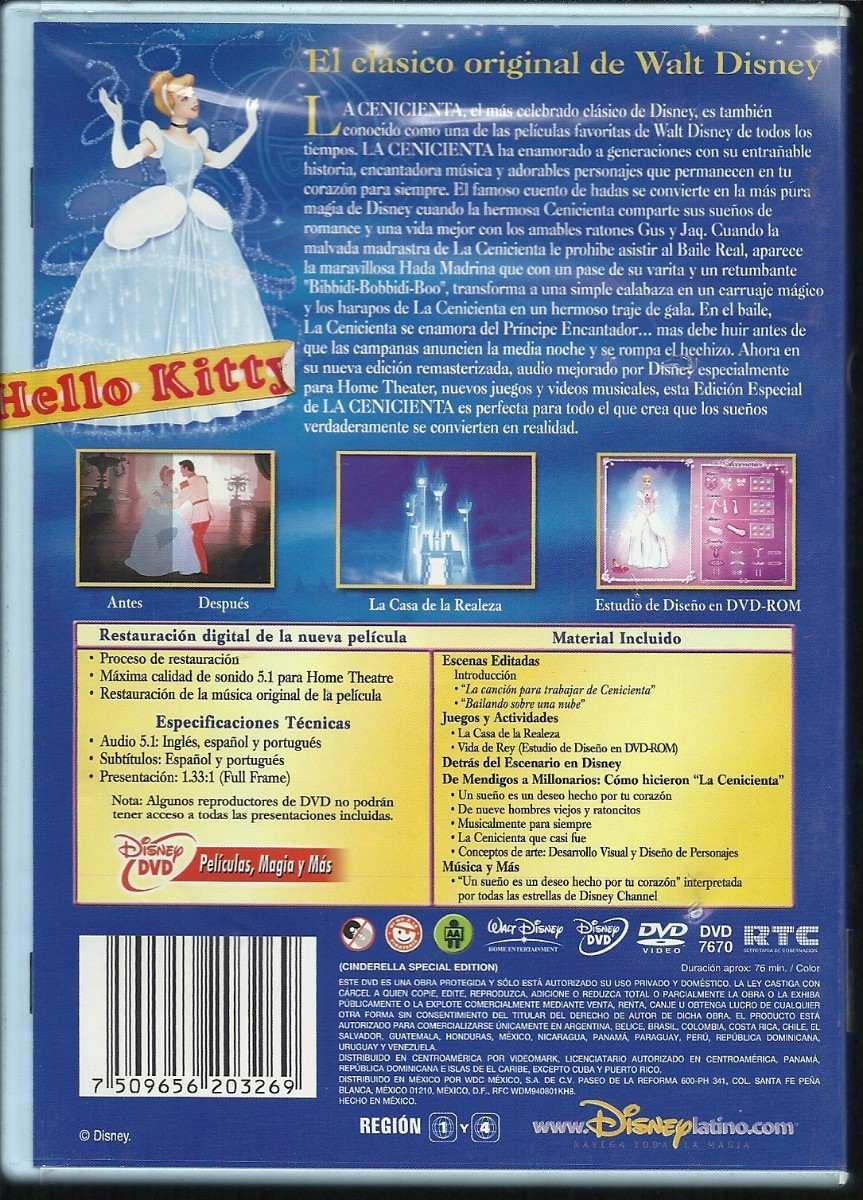 La Cenicienta Los Clasicos Edicion Especial Walt Disney Dvd - $ 210 ...
