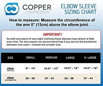 la compresión de cobre recuperación del codo de la manga,