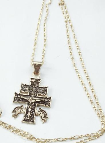 la cruz de caravaca dije en chapa de oro con cadena chapa
