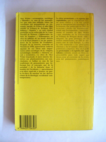 la ética protestante, max weber, ed. península