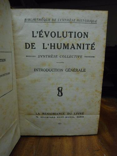 la evolución de la humanidad  en francés  1920  con mapas
