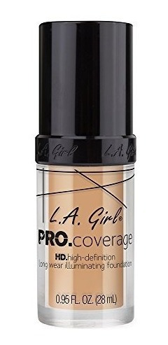 l.a. girl pro coverage liquid foundation, natural, 0.95 onza
