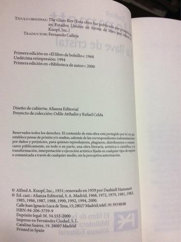 la llave de cristal - dashiell hammett - alianza - 2000
