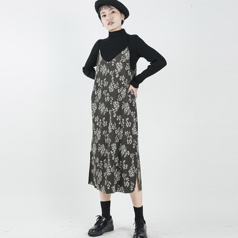 La Mujer V-cuello Patrón De Flores De Gasa Largo Vestido De ...