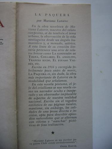 la paquera / mariano latorre / editorial universitaria /1958