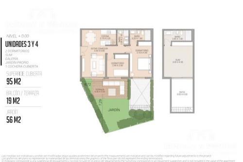 la posta del cangrejo village, unidad de 2 dormitorios, 2 baños, jardín,sum de uso exclusivo