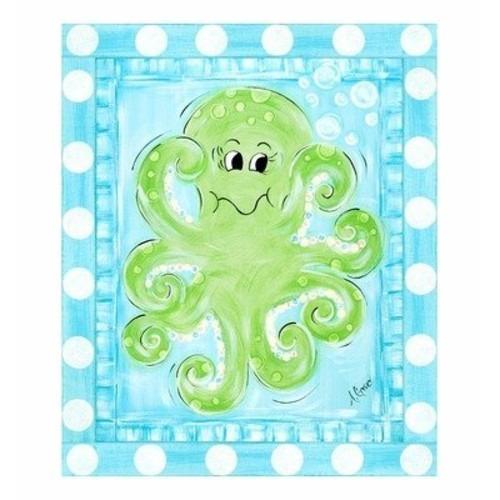 la rana verde del arte lona envuelta arte, pulpo pulpo