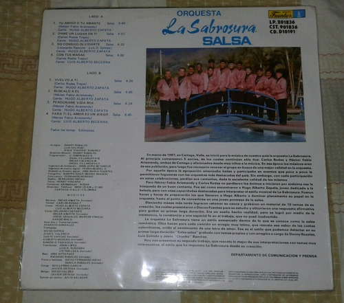 la sabrosura salsa/ tu amante o tu amigo/ lp 1992 fuentes