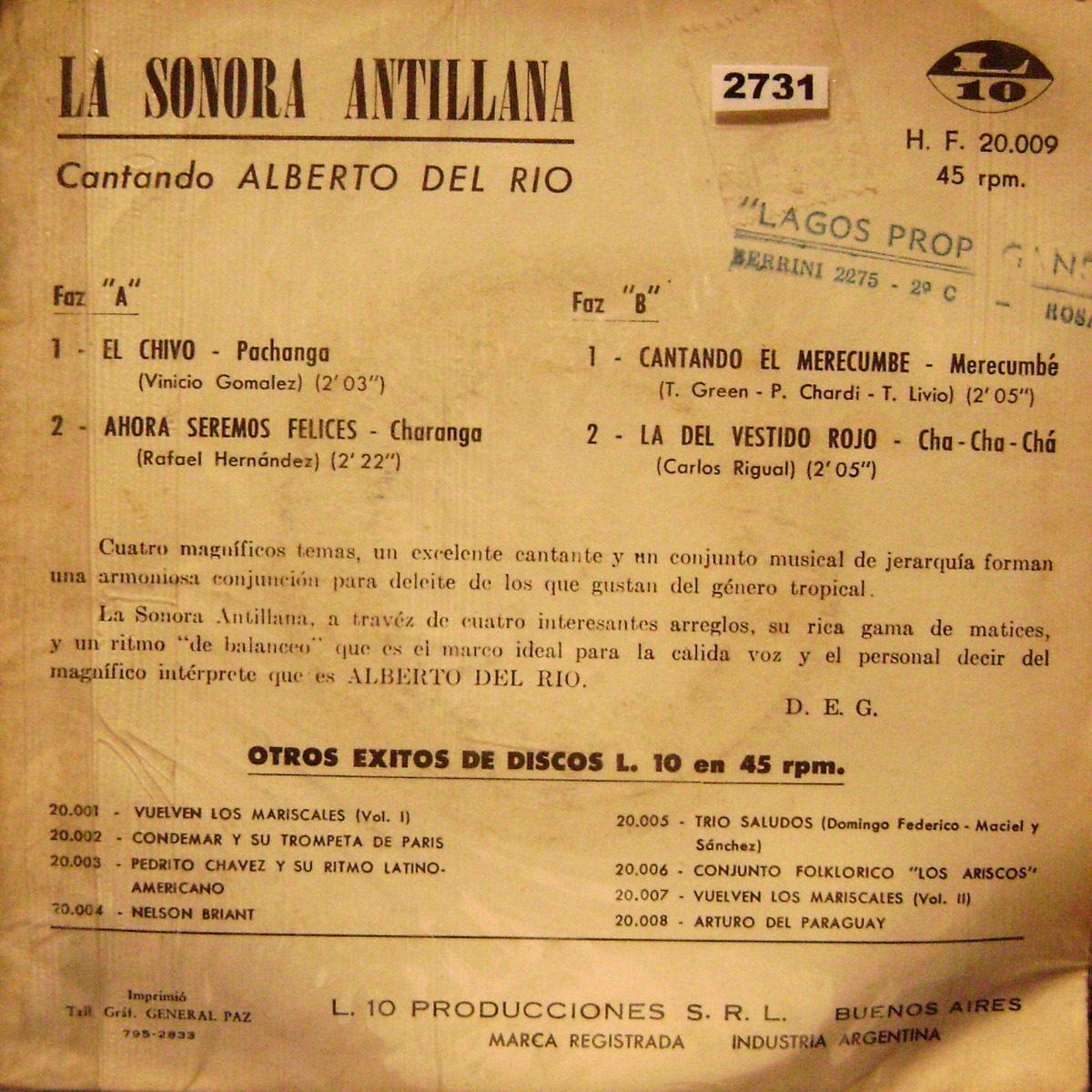 La Sonora Antillana Canta Alberto Del Rio Vinilo Ep Doble - $ 800,00 ...