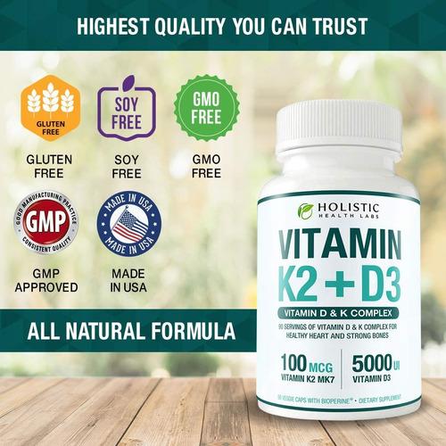 la vitamina k2 mk7 (100 mcg) con vitamina d3 (5000 ui) de me