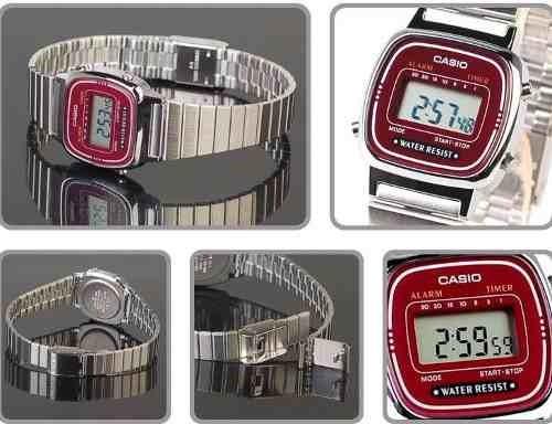 la670wa-4df relógio casio mini prateado vinho -100% original